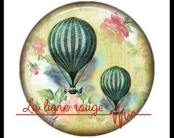 Hot air balloon (3389) - airship, balloon, Vintage - Cabochon with or without stand depending on your choice