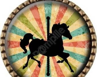 Bronze pendant Cabochon - circus horse - (678)