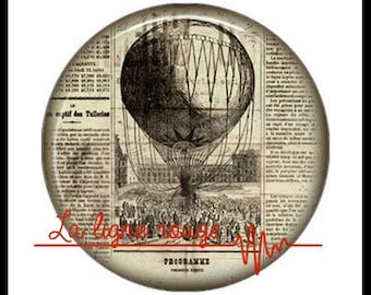 Hot air balloon (3393) - airship, balloon, Vintage - Cabochon with or without stand depending on your choice