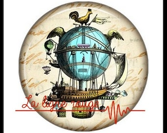 Hot air balloon (3376) - airship, balloon, Vintage - Cabochon with or without stand depending on your choice