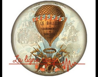 Hot air balloon (3372) - airship, balloon, Vintage - Cabochon with or without stand depending on your choice