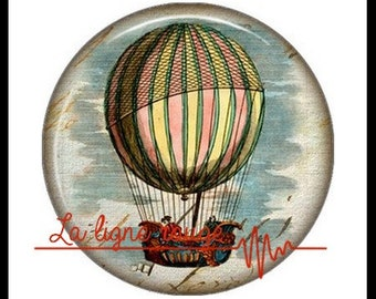 Hot air balloon (3374) - airship, balloon, Vintage - Cabochon with or without stand depending on your choice