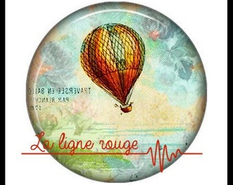 Hot air balloon (3370) - airship, balloon, Vintage - Cabochon with or without stand depending on your choice