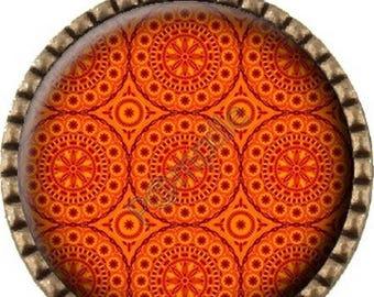 Bronze pendant Cabochon - orange (232)