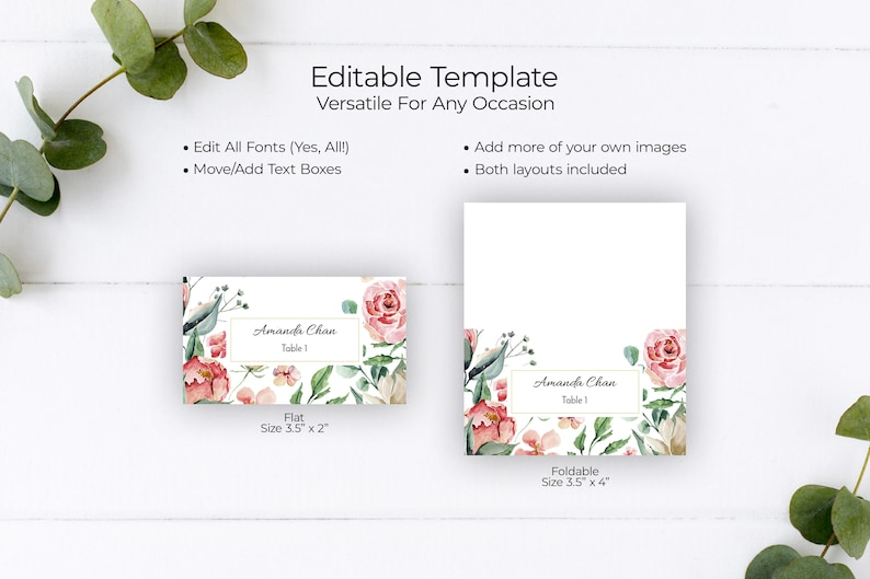 Floral Place Cards R10C9 Place Cards Wedding Printable Rose Place Cards Printable Cards Table Seating Card