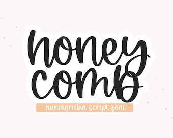 Honeycomb Font - Bouncy Handwritten Script Font, Cricut Fonts, Calligraphy, Modern Font, Cursive Font, Fonts for Cricut