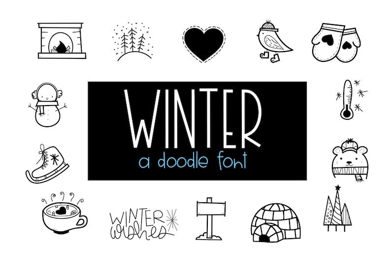 Schriftart Weihnachten.Winter Wünschen Eine Handgezeichnete Doodle Schriftart Winter Weihnachten Ttf