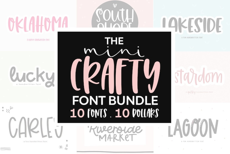 Download Font Bundle 10 Fonts for Crafters Cute Fonts Cricut Fonts ...