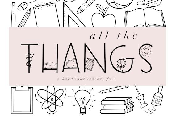 All The Thangs School Doodles Font Teaching Ttf Etsy