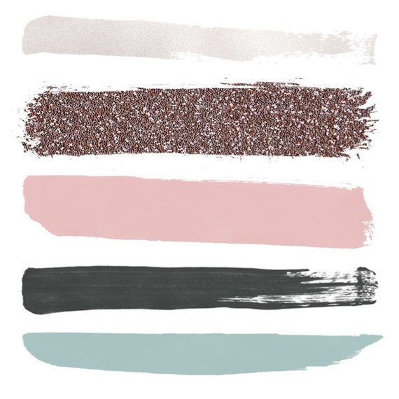 Pink and Slate Grey Brushstrokes - Watercolor Clipart [Hamptons]