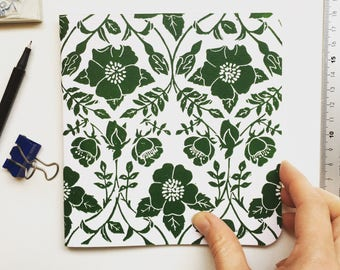 Hand printed linocut project notebook, small square sketch book, hand printed journal