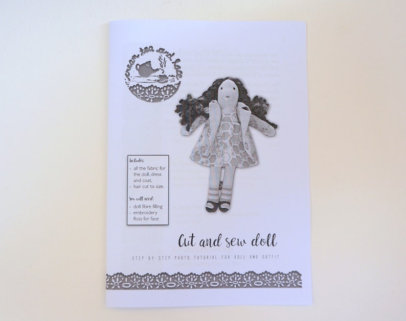 original purple fabric designs fabric doll sewing kit cloth doll with complete outfit cut and sew doll with detailed photo instructions