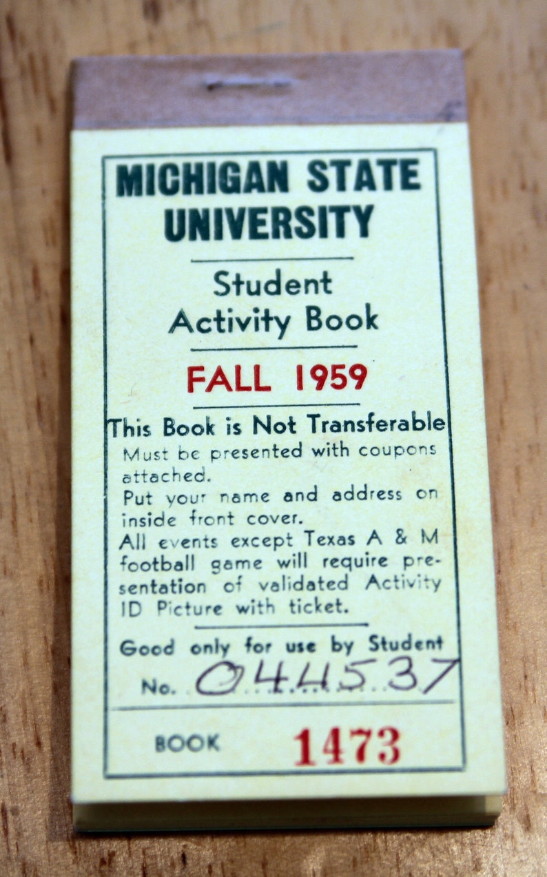 1959 Michigan State University student activity book complete football basketball fall MSU tickets coupon