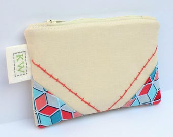 Hand Embroidered Zipper Pouch - Geometric Boxes - small purse makeup bag travel pouch toiletry bag coin purse embroidery