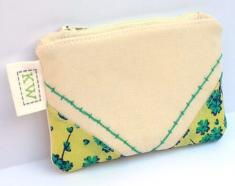 Hand Embroidered Zipper Pouch - Green Floral - small purse makeup bag travel pouch toiletry bag coin purse embroidery