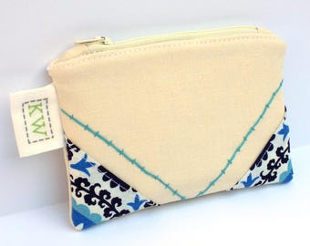 Hand Embroidered Zipper Pouch - Blue Floral - small purse makeup bag travel pouch toiletry bag coin purse embroidery