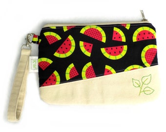 Hand Embroidered Clutch Purse - Watermelon