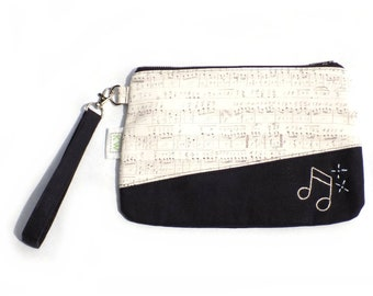 Hand Embroidered Clutch Purse - Music Notes