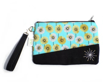 Hand Embroidered Clutch Purse - Dandelions