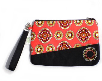 Hand Embroidered Clutch Purse - Coral Geometry