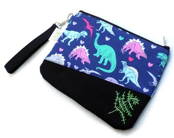 Hand Embroidered Clutch Purse - Dinosaurs