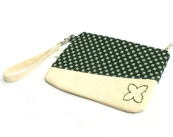 Hand Embroidered Clutch Purse - Green Floral