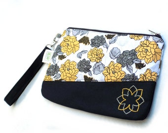 Hand Embroidered Clutch Purse - Yellow and Gray Floral