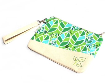 Hand Embroidered Clutch Purse - Green Leaves