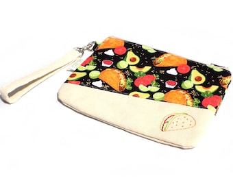 Hand Embroidered Clutch Purse - Tacos