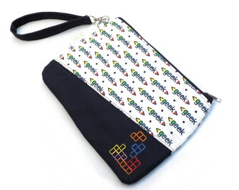 Hand Embroidered Clutch Purse - Geek Blocks
