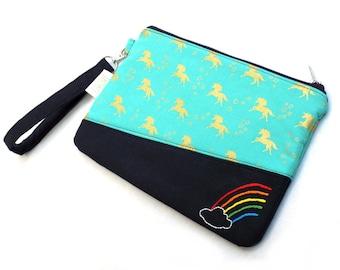 Hand Embroidered Clutch Purse - Unicorn Rainbow