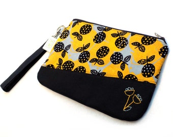 Hand Embroidered Clutch Purse - Yellow Flowers