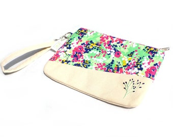 Hand Embroidered Clutch Purse - Bright Floral