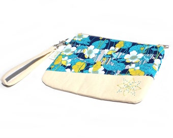 Hand Embroidered Clutch Purse - Blue and Lime Floral