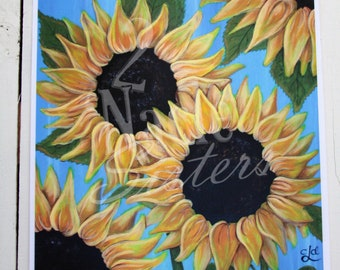 Sunflowers Art Print, Sunflowers Art Printable, Original Sunflowers Painting, Sunflower