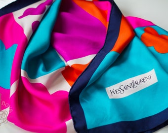 8744b08a418 Vintage YSL Yves Saint Laurent Silk Satin Scarf With Color Blocks and  Flowers Print | 100% Silk Luxury Vintage Scarf