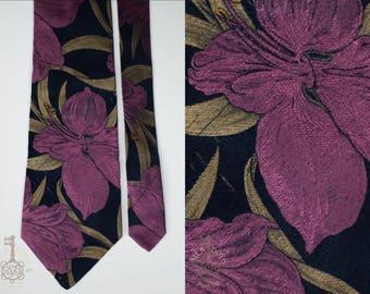 Prochownick Vintage Silk Necktie | Black Tie With Metallic Jacquard Iris Flower Embroidery | 100% Silk | Made in Italy