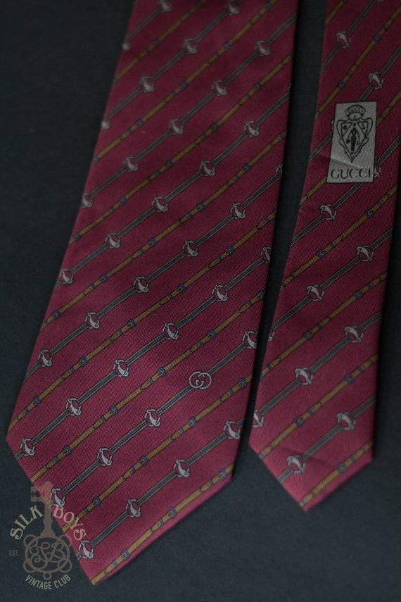 GUCCI Vintage Silk Maroon Burgundy Red Necktie wit