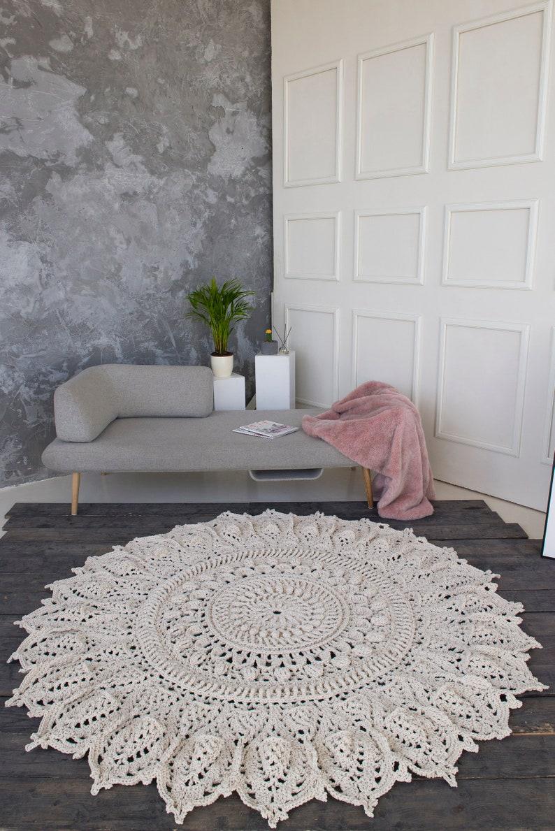 Large Rug Living Room Rug Big Crochet Rug Round Rug Crochet Rug Doily Rug Yarn Lace Mat Shabby Chic Floor Decor Nursery Rug