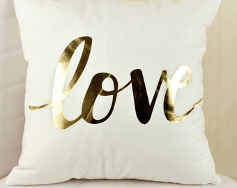 Pillow cover love, cover Bohemian decorative pillow, Cushion cover 50 x 50 gold and white love, boho, chic love cushion