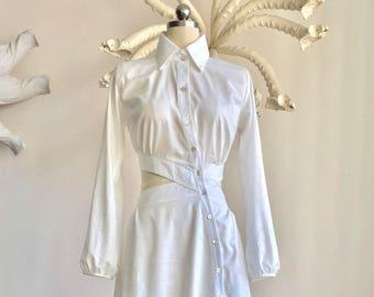 Cotton Shirt Dress Cut Off Detail