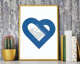Blue Warm Heart Love Him Poetry Art Print