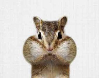 Woodland Animal Prints - Chipmunk, Digital File