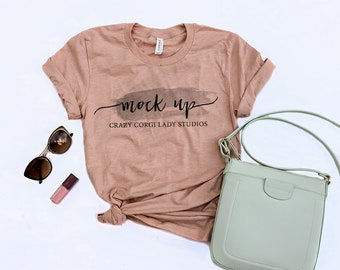 Bella and Canvas | 3001 | Heather Peach | Unisex Jersey Short-Sleeve T-Shirt | Shirt Mockup | Shirt Flat Lay | Bella Canvas | Flatlay
