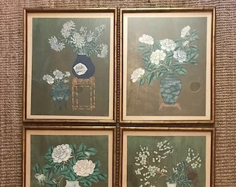 Chi chang hou etsy original chinese watercolors on silk flowers of the four seasons matching collection of four chi chang hou peking artist mightylinksfo