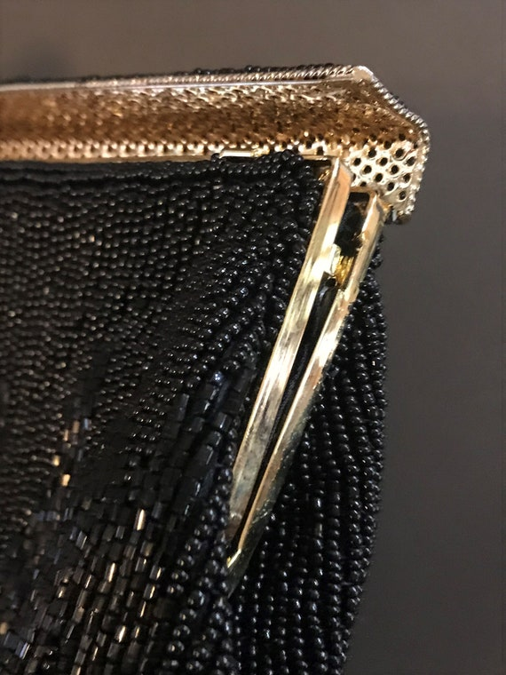 Black Beaded Clutch Evening Bag.  I Magnin. - image 4