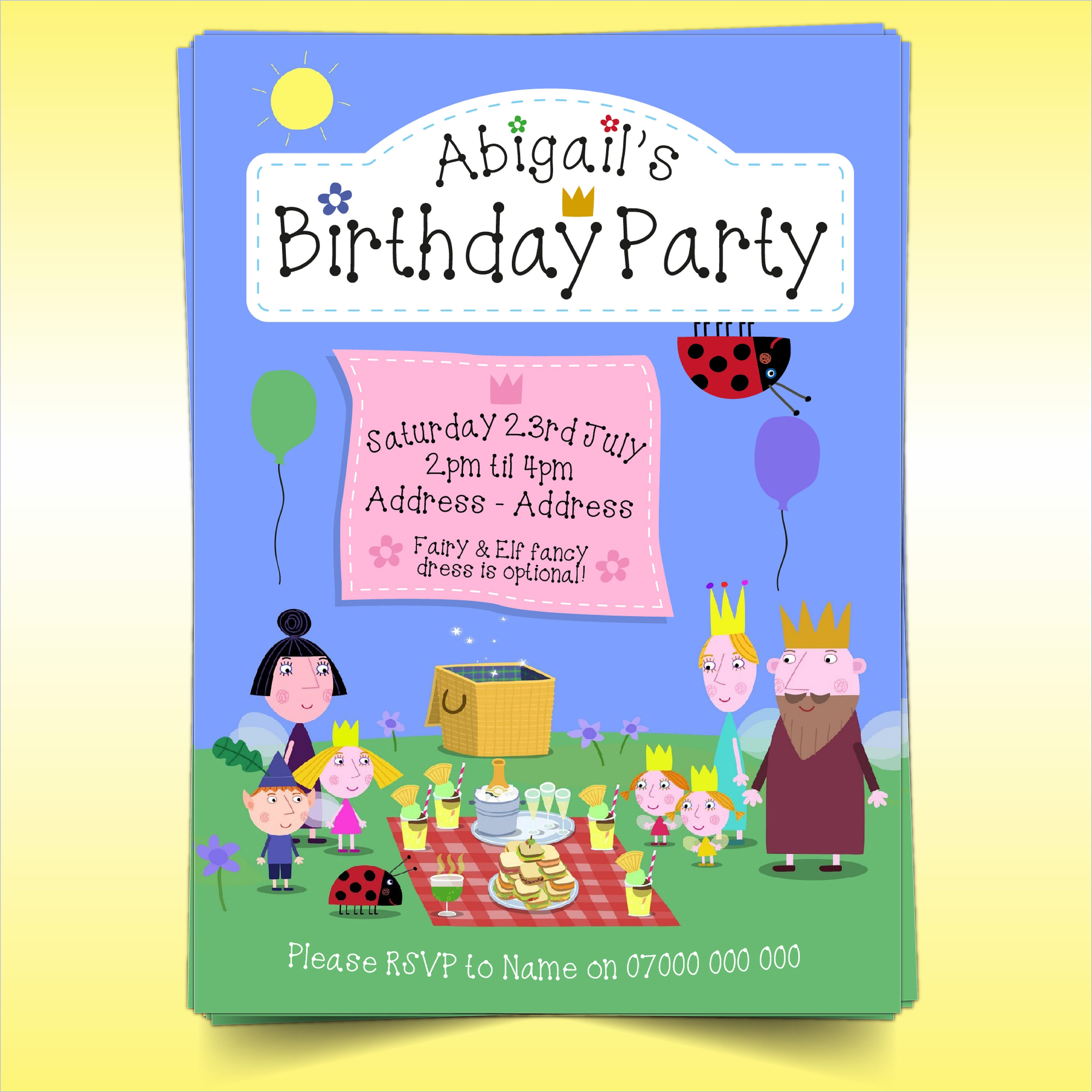 Ben And Holly Birthday Party Invitations A5