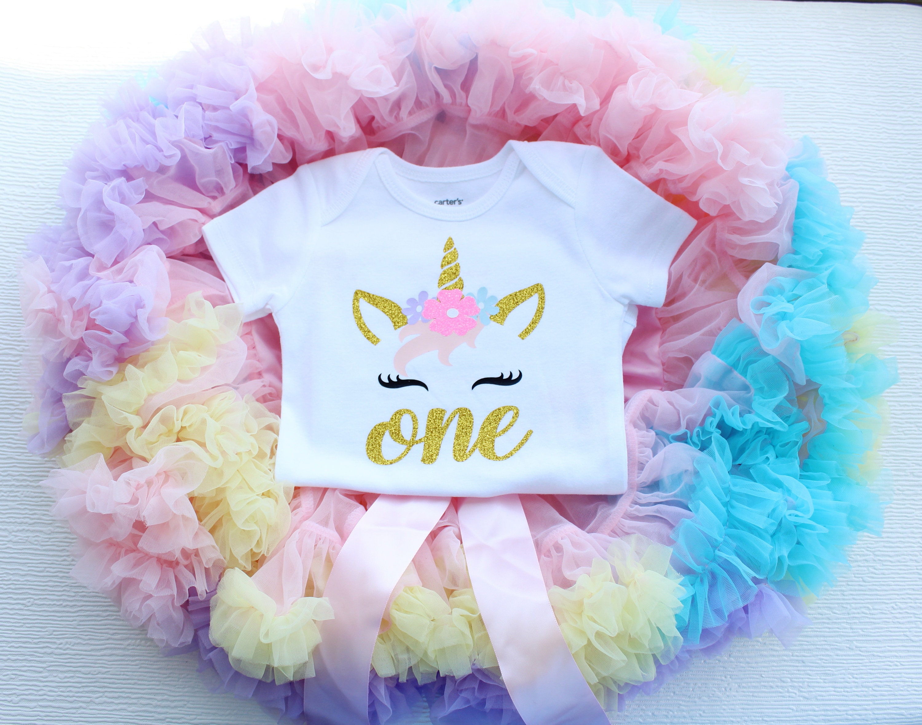 d0891337e Unicorn First Birthday Outfit Girl Pastel Rainbow 1st | Etsy