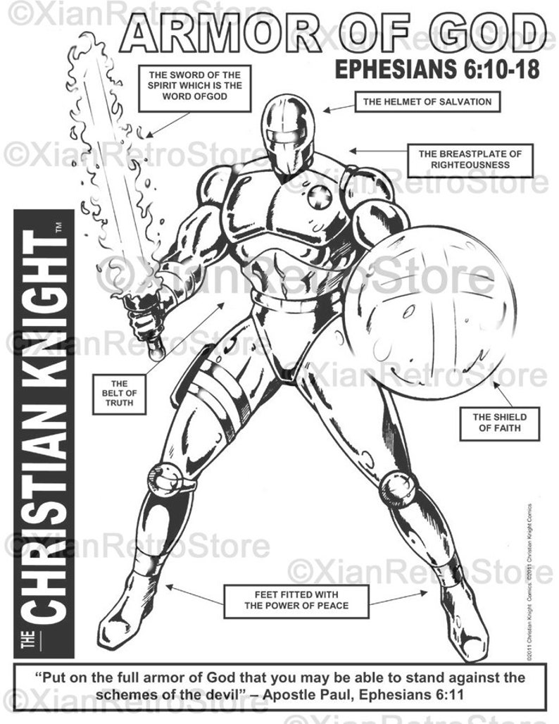 The Christian Knight  The Armor of God  Printable Coloring image 0