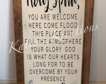 Holy Spirit Rustic Framed Sign